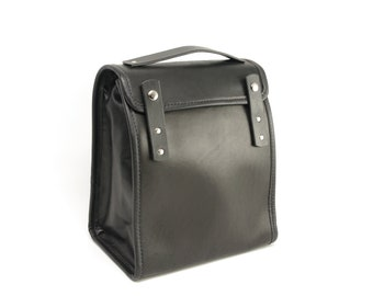 Black Executive Leather Lunch Bag v1 (non-insulated) - CLEARANCE