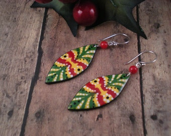 Ornament Enamel Earrings  Red  Green  Yellow  Sterling Silver  Coral   OOAK