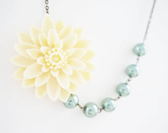 Bridesmaid Gift Bridesmaid Jewelry Statement Necklace Flower Necklace Ivory Necklace Sage Necklace Wedding Necklace Bridal Necklace Gift