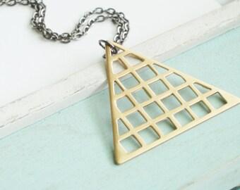 Triangle Necklace - Geometric Brass Necklace - Fall Fashion Simple Mod Minimal