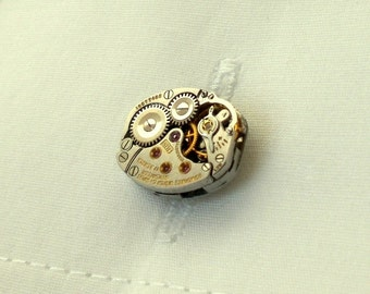 Steampunk VTG MINTY Longines Watch Movement Cufflinks, Wedding Day Bride Groom Gift, Unisex Steampunkology, French Cuff Office & Tuxedo Wear