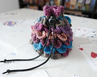 Dice Bag - Crochet Dragon Scale - Purple, Blue and Salmon