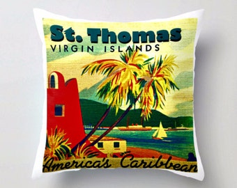 ST THOMAS Pillow Cover 18x18, Virgin Islands Pillow, Aqua Red Throw Pillow, Travel Gift Ideas, St Thomas Home Decor