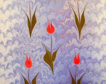 "Dutch Tulips - Original Marbling Art, Hand Marbled Paper, The Original ""Marbled Graphics""TM by Robert Wu"