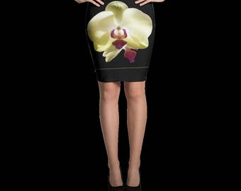 Yellow Orchid Pencil Skirt