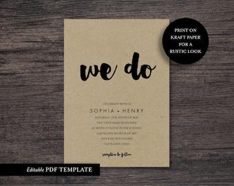 We Do Wedding Invitation Template | We Do Invite Template | PDF Editable Template | We Do Wedding Invite | Rustic Invite | Instant Download