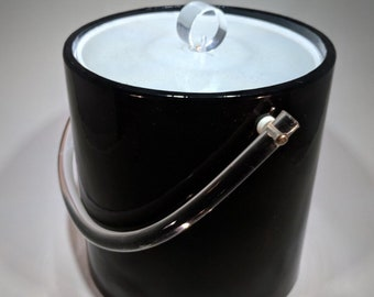 Vintage Black Kromex Ice Bucket with Lucite Top and Handle