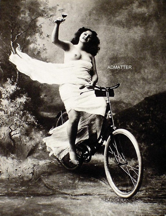 Vintage Victorian Pin-Up Girl Poster Topless Photo Riding-4747