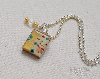 Lucky Cat Scrabble Necklace, Handmade Scrabble Tile Pendant, Maneki Neko, Japanese Lucky Charm, Wire Wrapped Bead Dangle, Cat Lover Gift