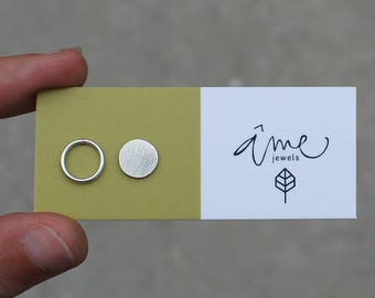Mismatched earrings stud earrings sterling silver earrings circle earrings geometric earrings minimalist earrings - amejewels