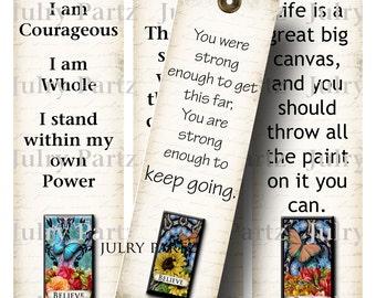Affirmation BOOKMARKS, Yoga Bookmark, Rectangle Image ,Printable Digital Images, Gift Tags, Yoga tag, Meditation, Printable Bookmark