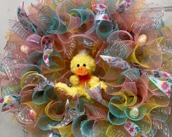 Easter Springtime Large Deco Mesh Duck Front Door Wreath