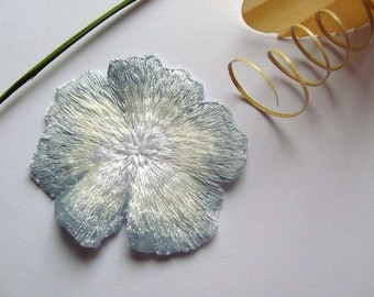 Applique pansy flower, white and blue pastel 63mm x 57mm