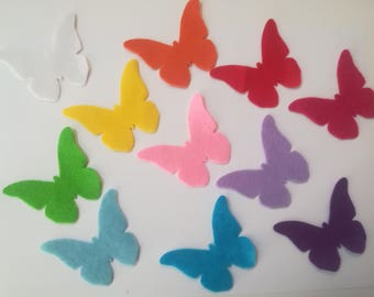 Felt butterflies silhouettes thickness 1 mm, die in felt, felt applications, scrapbooking,