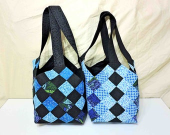 Midi Quilt Patchwork Bag Purse Tote Fully Lined In Blues and Black