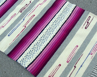 Pink rose handwoven wool rugs with brown and white stripes - unique handmade rug