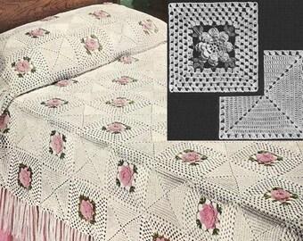 INSTANT DOWNLOAD 1954 Rose Bower Bedspread Vintage Crochet Pattern PDF 179