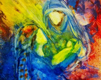 """Prophetic Christian Art Print of the Nativity """"He Has Come"""""""