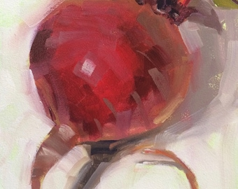 Beet It, Original Oil Painting by Bridget Hobson, 6x8 inch, free domestic shipping