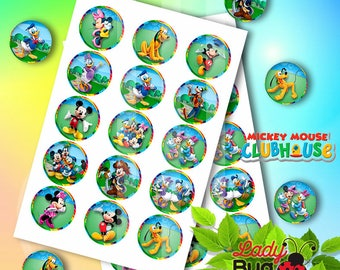 """Clubhouse Mickey Mouse Bottle Cap Caps Digital images for hair bows  Dowland 4 X 6 DIGITAL 1"""" Inch Bottle Cap Imagen/Digitale Collage Sheet"""