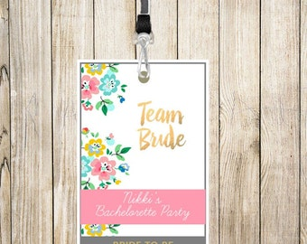 Team Bride Bachelorette Party Lanyard - PERSONALIZATION INCLUDED / Fully Customizable
