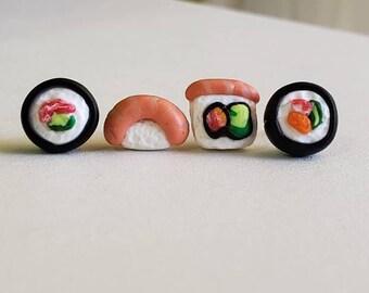 Sushi detailed stud earrings. Sushi earrings. Food earrings. Sushi lover gift. Sensitive ears. Sushi gift. Sushi studs.