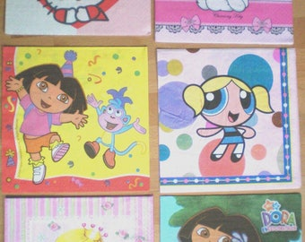 Set of 6 napkins paper girl cartoon characters Princess cat children