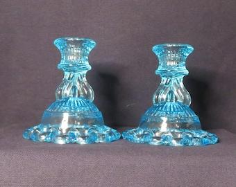 Westmoreland Blue Doric Candlestick Holders - Vintage Ice Blue Open Lace