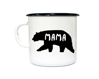 Mama bear enamel mug custom logo personalised enamel mug for camping or mug with your custom design