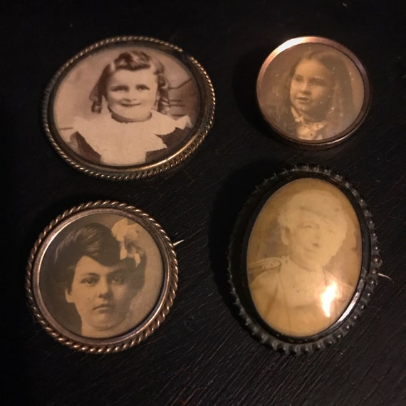 4 Victorian Mourning Brooch Pins