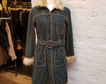 70s Miss Jones denim coat with faux fur. UK size 8-10
