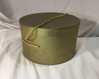Vintage Round Gold Hat Box