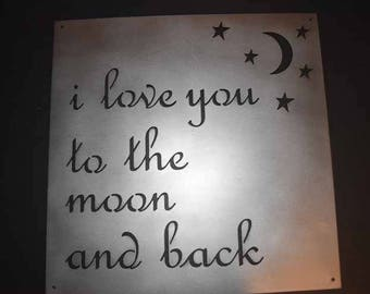 i love you to the moon and back Metal Sign  with moon and stars / metal sign / metal art work / 14 x 14