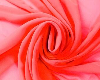 Corallish Neon-B Solid Hi-Multi Chiffon Fabric by the Yard, Chiffon Fabric, Wedding Chiffon, Lightweight Chiffon Fabric - Style 500