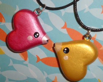 Pokemon - Luvdisc Charm Necklace - Choose Classic Pink or Shiny Gold