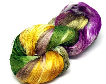 Hand Dyed Mulberry Silk Luxury Lace Yarn 100g 2/120s