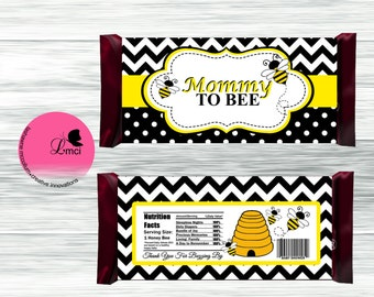 Mommy to Bee Candy Bar Wrappers, Party Favors - Digital File