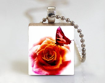 Butterfly Rose - Scrabble Tile Pendant - Free Ball Chain Necklace or Key Ring