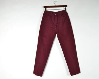 Maroon High Waisted Mom Jeans