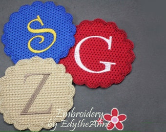 MONOGRAM COASTER Set of 26  In The Hoop Machine Embroidery Design. Digital File. Available immediately.