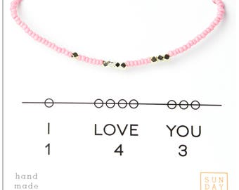 I Love You 143 Friendship Bracelet - Pink Breast Cancer Awareness