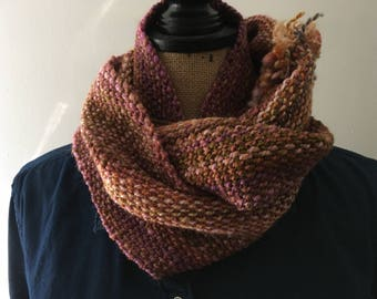 Muted Pink Handwoven Cowl made with handspun yarn