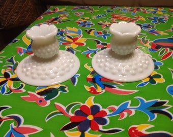 Vintage Fenton milk glass hobnail candlestick holders