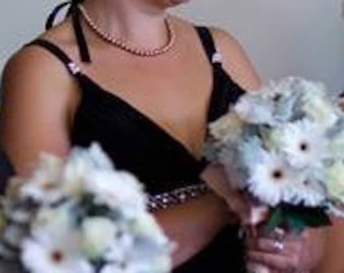 Sandy Bronze Pearl Bridesmaids Necklace with Black Ribbon Bow.
