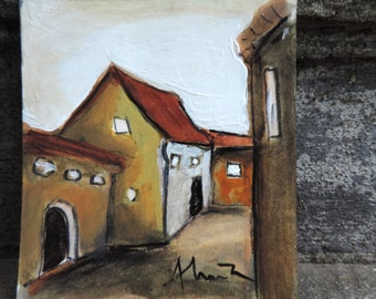Tiny houses, lovely art, Brasov medieval guild hall, small original acrylic painting, Saxon city Romania, tiny miniature architecture window