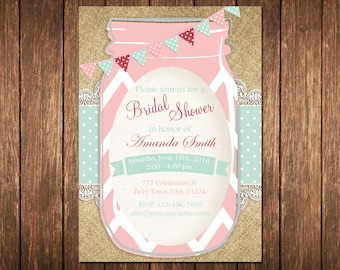 Rustic Bridal Shower Invitation, Rustic Invitation, Mason Jar invitation, Flower Invitation, Bridal Shower Invitation, Burlap Bridal Shower