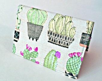 Cactus Credit Card Wallet, Succulent Wallet, Cash Wallet, BiFold Wallet, Slim Wallet Travel Wallet, Ladies Card Wallet Garden Wallet Women