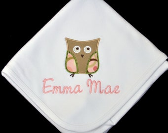 Personalized White Cotton Baby Blanket