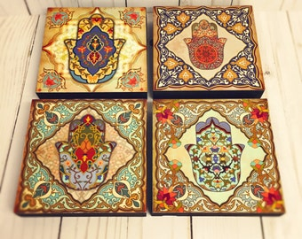 Hamsa hand blocks Moroccan art Set, hamsa Block Set of 4, Hamsa wall art, spanish wall tiles, Moroccan art, hamsa hand wall blocks