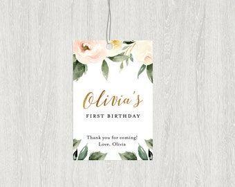 Floral Favor Tag | Pink Floral Favor Tag | Printable Birthday Favor Tag | 2x3 Customized Digital File